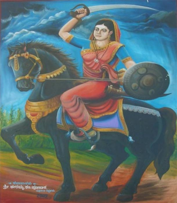 Painting of the Indian Queen Belawadi Mallamma by Shri. Erayya S Poojar in 2009. (Journeys of Karnataka)