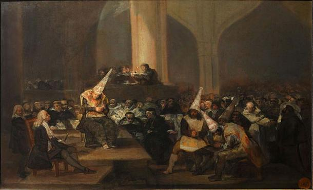 Painting by Francisco Goya depicting an auto de fé, an act of public penance carried out between the 15th and 19th centuries of condemned heretics and apostates imposed by the Inquisition. (Public Domain)