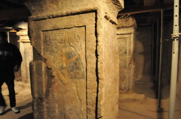Paintings and inscriptions within the newly opened Maia's Tomb.