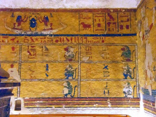 "Paintings on the walls of the burial chamber of Aye's tomb in the Western Valley of the Kings (WV23). J.G. Wilkinson said that the tomb, ""Contains a broken sarcophagus and some bad fresco painting of peculiarly short and graceless proportions""."