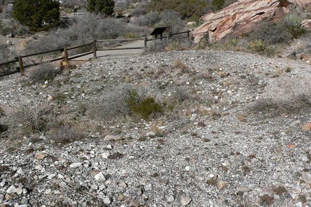 A Paiute agave roasting pit near Willow Spring, Red Rock Canyon, southern Nevada