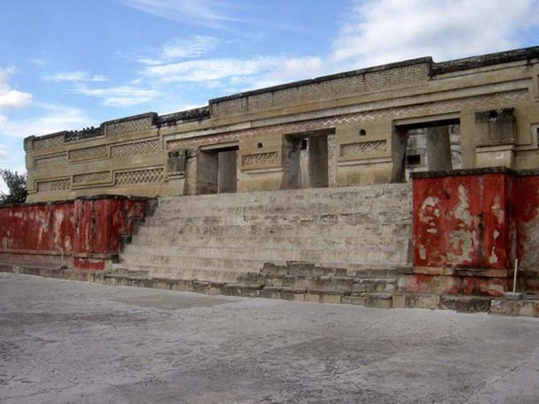 Palace in Mitla, Mexico, with original paint on the walls.
