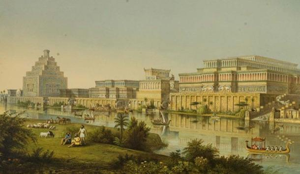'The Palaces at Nimrud Restored' (1853) as imagined by the city's first excavator, A.H. Layard after a sketch by James Fergusson
