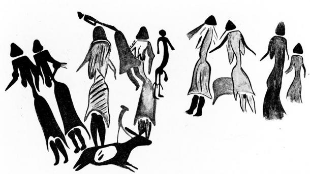 This Paleolithic cave painting is the only one from that early that shows people clothed. It is from the Magdalenian period of 17,000 to  12,000 years ago. This painting predates the cremation of 7,600 years ago in Britain.