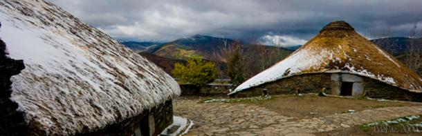 Palloza houses in eastern Galicia, an evolved form of the Iron Age local roundhouses.