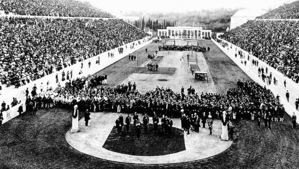 The Panathenaic Stadium during the opening ceremony of the 1896 Summer Olympics. (Public domain)