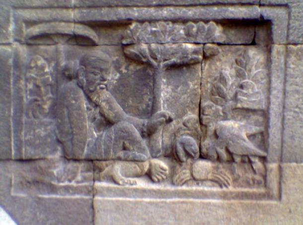 A 'Panchatantra' relief at the Mendut temple, Central Java, Indonesia.