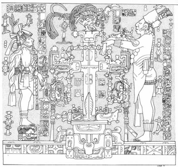 Panel Temple of the Cross. Linda Schele Drawing. Courtesy of Ancient Americas at LACMA