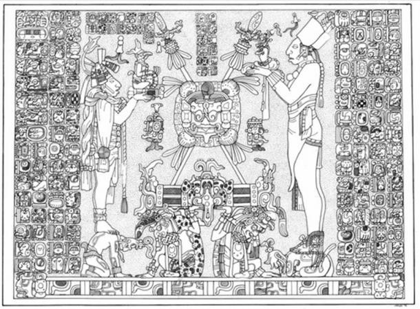 Panel Temple of the Sun. Linda Schele Drawing. Courtesy of Ancient Americas at LACMA