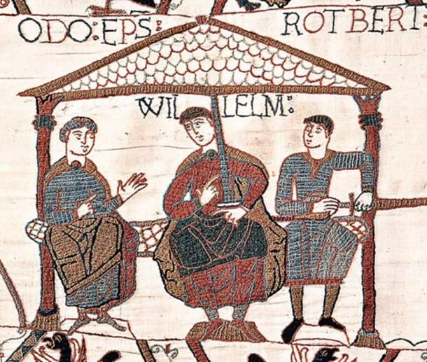 Panel from the Bayeux Tapestry - this one depicts Bishop Odo of Bayeux, Duke William, and Count Robert of Mortain. (Public Domain)