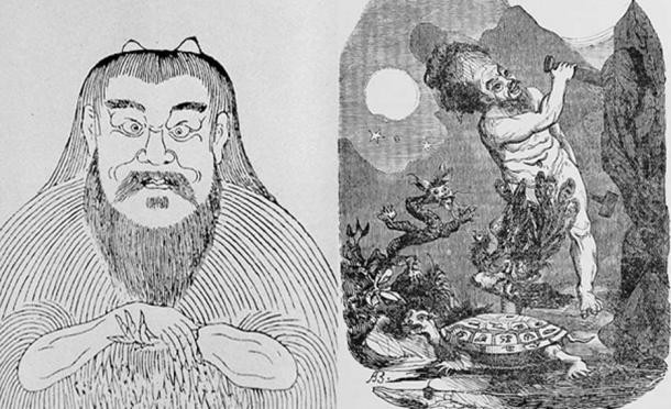 Pangu, mythical creator of the world [left], chisels out the universe [right] (Public Domain)
