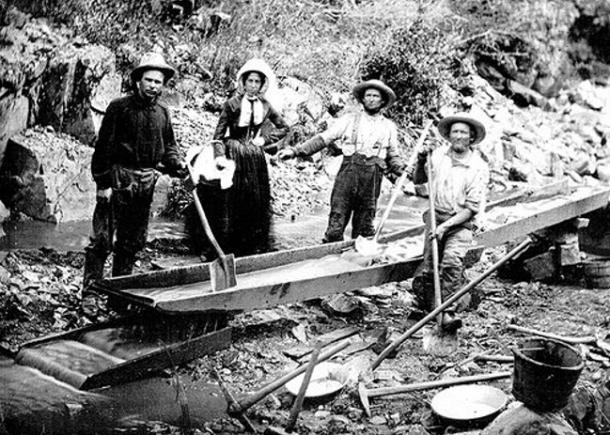 Panning for gold during the California Gold Rush.