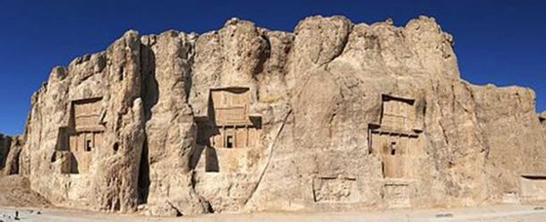 Panorama of Naqsh-e Rustam. Achaemenid tombs above, Sassanian reliefs below. The tombs, from left to right, probably belong to: Darius II, Artaxerxes I, Darius I, Xerxes I