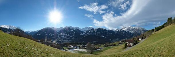 Panorama of the Bartholomäberg (Montafon) landscape, where researchers have found significant traces of Bronze Age mining.