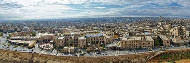 Panoramic view of the old city of Aleppo, Syria.