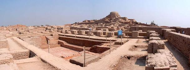 Panoramic view of the stupa mound and great bath at Mohenjo Daro.