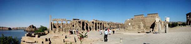 Panoramic view at the Philae Temple, at its current location on Agilkia Island.