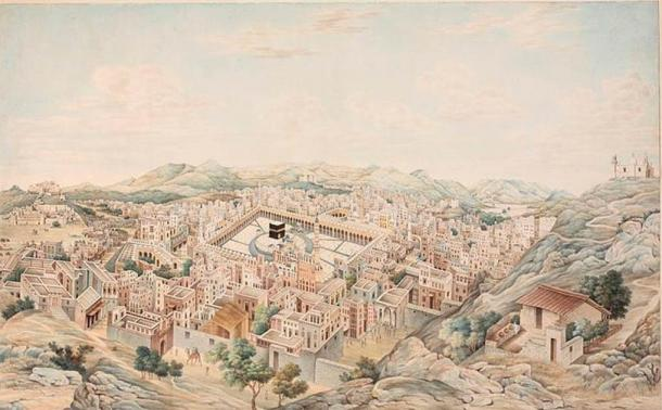 Panoramic View of Mecca, Mecca, Saudi Arabia, 1845. From the Nasser D. Khalili Collection of Hajj and the Arts of Pilgrimage. (Khalili Foundation/CC BY SA 4.0)