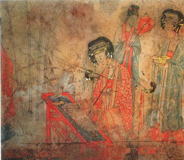 Pao-shan Tomb Wall-Painting of Liao Dynasty: Noble Consort Yang is teaching a parrot to chant sutras. (Public Domain)