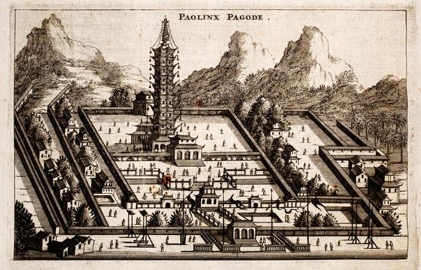 """""""Paolinx pagode"""". Bao'ensi, Porcelain Tower of Nanjing, Jiangsu, China. Page 136. Pronounced mountain tops (1665). (Public Domain)"""