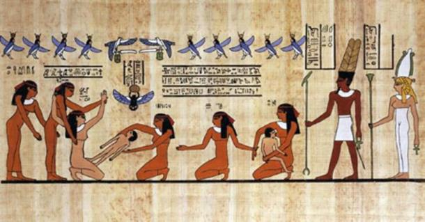 Papyrus depiction of a woman giving birth, helped by other women and the gods. (African Progressive)