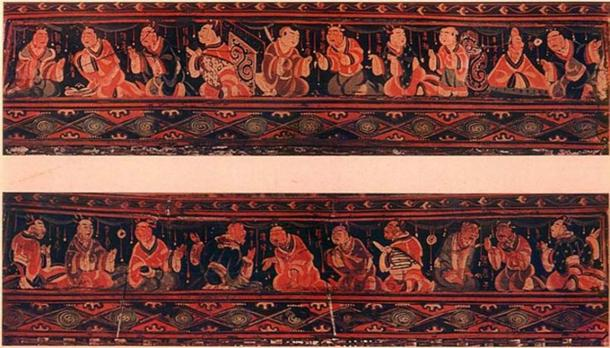 Paragons of filial piety, Chinese painted artwork on a lacquered basketwork box. It was excavated from an Eastern Han tomb of what was the Chinese Lelang Commandery in what is now North Korea. (Public Domain)