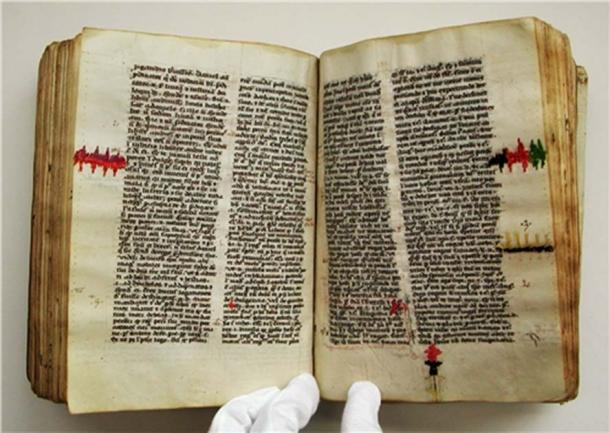 Parchment holes in this manuscript were repaired using embroidery circa 1417. It is currently in University Library, Uppsala, Sweden.