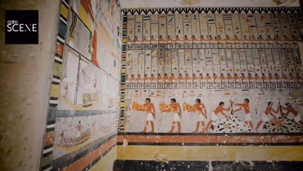 Brightly painted walls in the 4300-Year-Old Tomb discovered in Egypt. Credit: Screenshot from Ministry of Antiquities video
