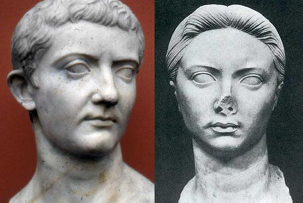 Parents of Castor. Bust of Tiberius [left] and wife Vipsania [right]