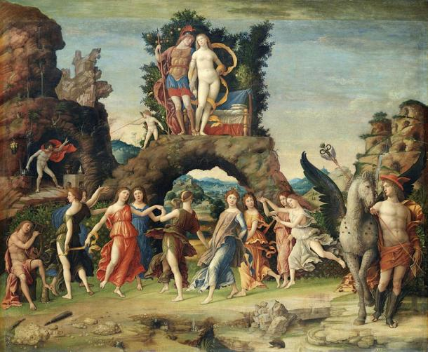 """Fifteenth century painting """"Parnassus"""" with the Muses below Mars and Venus, by Andrea Mantenga"""