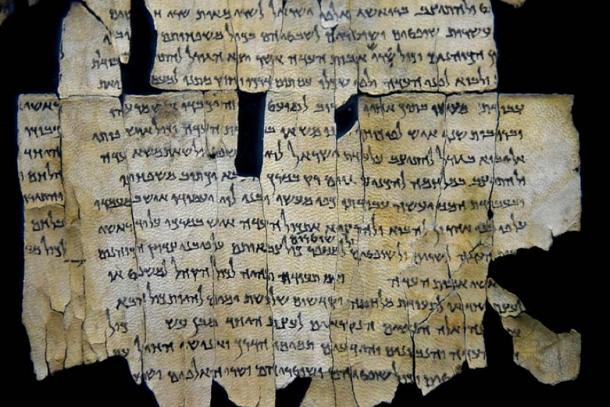 Part of Dead Sea Scroll 28a from Qumran Cave 1. The Jordan Museum, Amman. (CC BY-SA 4.0)