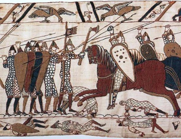 Part of scene 52 of the Bayeux Tapestry. This depicts mounted Normans attacking the Anglo-Saxon infantry. (Public Domain)