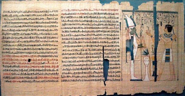 Part of the Book of the Dead of Pinedjem II. The text is hieratic, except for hieroglyphics in the vignette
