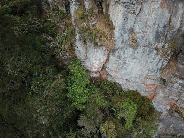 Part of the cliff face where the position of a cave was identified, but was found to be unreachable with the equipment the group had with them