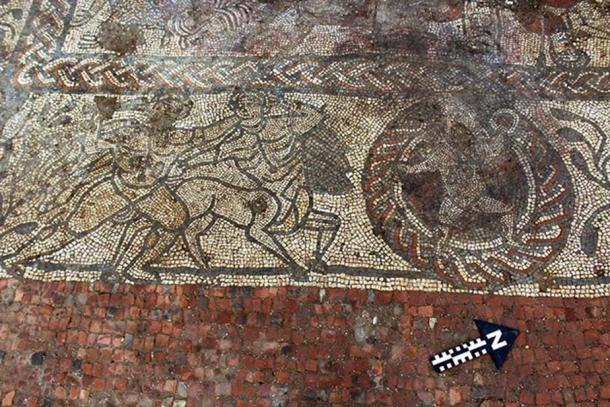 Part of the mosaic at Boxford, potentially depicting Hercules fighting a centaur, and Cupid