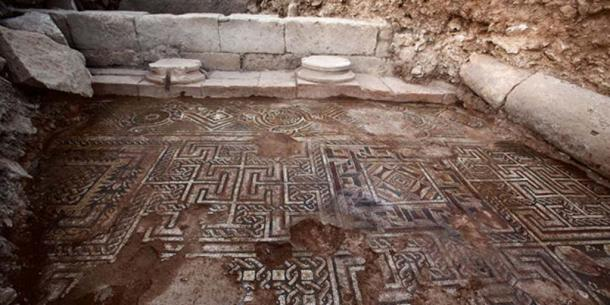 Part of the mosaic floor surrounded columns excavated in 2015.