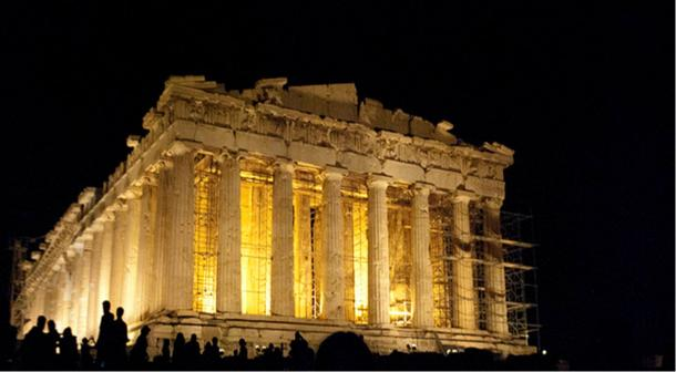 Famous ancient Greek structure, the Parthenon at night.