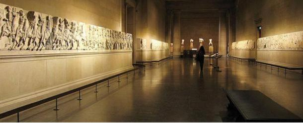 Parthenon marbles on display at The British Museum.