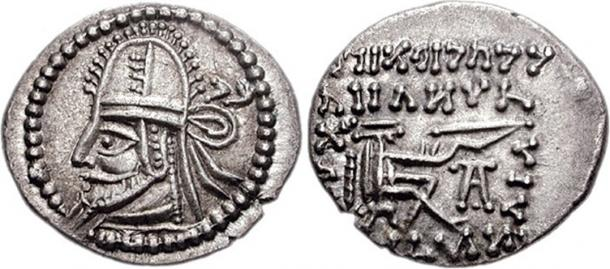 Coin of the Parthian king Artabanus IV.