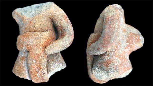 Partial ballgame player figurines such as this (shown from the front and side) were unearthed at a mountain site in southern Mexico. (J. Blomster / George Washington University)