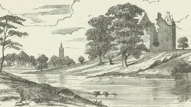 A 19th century artist's impression of the second Partick Castle on the banks of the Kelvin, looking south towards Govan.