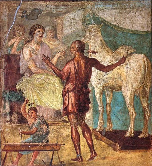 Pasiphae, Daedalus, and the wooden cow. Roman fresco from the northern wall of the triclinium in the Casa dei Vettii (VI 15,1) in Pompeii. (Public Domain)