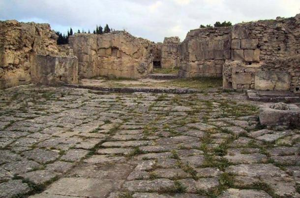 Paved floor and walls in the ruins of the Ugarit palace.