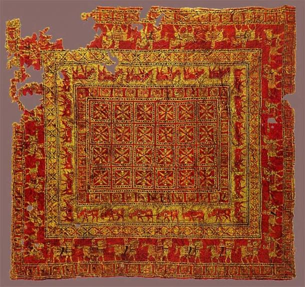 Pazyryk Carpet. (Public Domain) The world's oldest known pile carpet was found in the largest of the Pazyryk burial mounds, Altay mountains. It is exhibited in the Hermitage Museum Saint Petersburg.