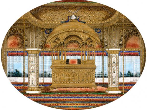 Painting depicting the Peacock Throne in the Diwan-i-Khas of the Red Fort of Delhi.