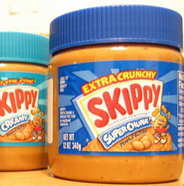 Two jars of 'Skippy' Peanut Butter.