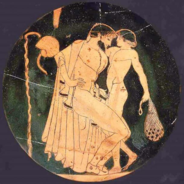 Pederastic scene at the palaestra: man and youth about to make love.