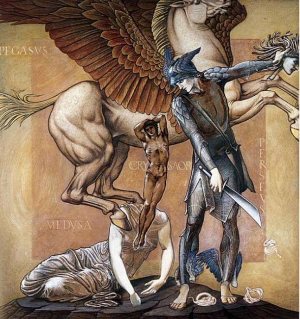 Pegasus emerges from the body of Medusa. 'The Perseus Series: The Death of Medusa I' by Edward Burne-Jones