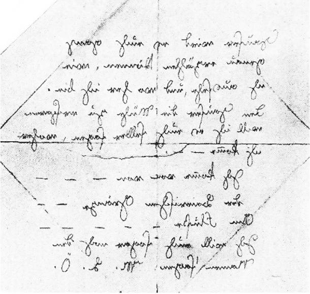 Penciled note in mirror writing found after Kaspar Hauser's death.