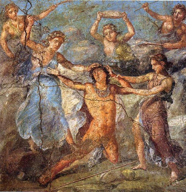 Pentheus being torn to pieces. Roman fresco from the northern wall of the triclinium in the Casa dei Vettii (VI 15,1) in Pompeii. (Public Domain)